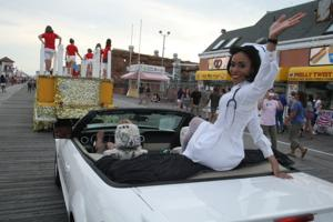 Miss New Jersey parade on boardwalk in Ocean City