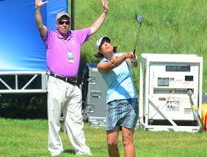 LPGA: Juli Inkster hits on to the 18th Green. Saturday June 1 2013 LPGA ShopRite Classic at Seaview Resort in Galloway. Day 2 (The Press of Atlantic City / Ben Fogletto)  - Ben Fogletto