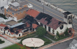 Storm: Church of the Redeemer, Longport (fire damage aerial). Saturday June 30 2012 (The Press of Atlantic City / Ben Fogletto)  - Ben Fogletto
