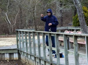 Birch Grove Park: David Galda, of Galloway Township, tries his luck fishing at Birch Grove Park, in Northfield. Monday, March, 18, 2013( Press of Atlantic City/ Danny Drake)  - Danny Drake