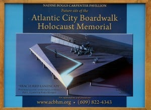 Sign showing design of Atlantic City Boardwalk Holocaust Memorial unveiled