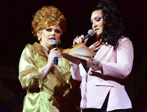 Miss'd America: Michelle Dupree and host Michelle Visage. Saturday September 21 2013 Miss'd America competition at the House of Blues in Showboat Atlantic City. (The Press of Atlantic City / Ben Fogletto) - Photo by Ben Fogletto