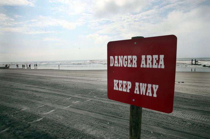 Beach Danger Signs Danger Beach a Sign Warns