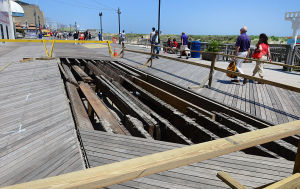 Boardwalk Improvements: People pass on-going Boardwalk repair in front of the Atlantic Club in Atlantic City. Saturday June 1 2013 (The Press of Atlantic City / Ben Fogletto)  - Ben Fogletto