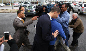 Ray Rice Arraigned: Baltimore Ravens player Ray Rice, gesturing, and wife Janay Palmer arrive at the Atlantic County court house in Mays Landing, Thursday May 1, 2014, for his arraignment. Rice faces assault charges for the alleged assault at Revel in Atlantic City on his now wife. (The Press of Atlantic City/Staff Photo by Michael Ein) - Michael Ein