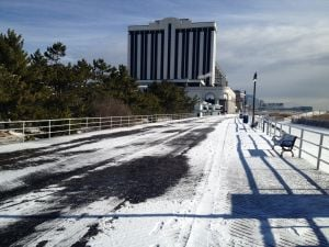 Snow On The Atlantic City Boardwalk: Snow and ice on the Boardwalk near Albany Avenue in Atlantic City.  - Photo by Edward Lea