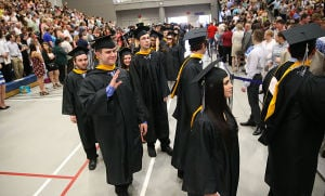 Stockton Graduation: Graduates file into the gym for graduation ceremonies. Sunday May 11 2014 Stockton College Graduation, morning session. (The Press of Atlantic City / Ben Fogletto) - Ben Fogletto