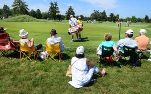 LPGA: Spectators watch action on the 9th green. Friday May 31 2013 LPGA ShopRite Classic at Seaview Resort in Galloway. Day 1 (The Press of Atlantic City / Ben Fogletto)  - Photo by Ben Fogletto