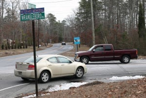 Galloway Roads: Traffic flows through the intersection of Moss Mill and Wrangleboro roads in Galloway Township. There have been two fatal accidents on Moss Mill Road within the past three months. Wrangleboro Road has seen 45 accidents in 2013 and '14. - Photo by Michael Ein