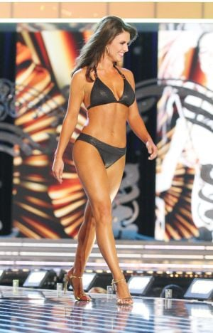 Miss America 2 PRELIMS: Miss Oklahoma Kelsey Griswold contestant walks the runway during swimsuit portion of the preliminary second round of the Miss America pageant at Boardwalk Hall in Atlantic City, New Jersey, September 11 2013 - Photo by Edward Lea