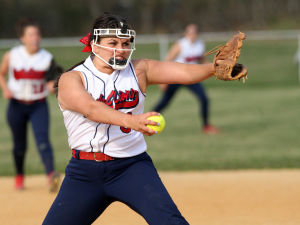 SacredHeartSoftball: Sacred Heart pitcher Rosie LaGrotta deliver a pitch against Buena on Tuesday.  - Photo by Edward Lea