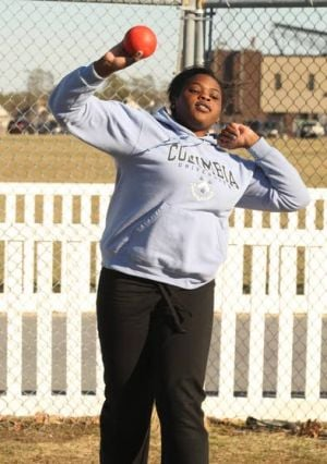 My Life: EHT Senior Lola Agabalogun: Lola Agabalogun practices the shot put Thursday at Egg Harbor Township. Agabalogun is the state Group IV champion and will compete Saturday in the annual Meet of Champions. 'I'm very excited,' she said about the season-ending meet.