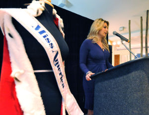 MISS AMERICA ANNOUNCEMENT: Miss America 2013, Mallory Hytes-Hagan speaks during a press conference to announce new attractions promoting the Miss America Pageant, June 21, 2013, at the Atlantic City Sheraton. (The Press of Atlantic City/Staff Photo by Michael Ein)  - Michael Ein