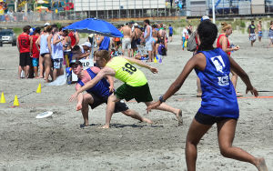 Wildwoods Beach Frisbee: Saturday July 27 2013 Wildwoods Beach Frisbee Tournament on the beach at Poplar Avenue. (The Press of Atlantic City / Ben Fogletto) - Photo by Ben Fogletto