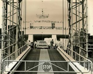 Cape May-Lewes Ferry 13.jpg: August 15, 1977. A barricade prohibits any additional vehicles and passengers from boarding the Cape May-Lewes Ferry for transport to Delaware. Photo by Frank Ross. Historical photo archive