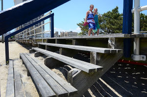 Boardwalk Improvements: Children pass a beach access stair in disrepair near Hartford Avenue in Atlantic City. Saturday June 1 2013 (The Press of Atlantic City / Ben Fogletto)  - Ben Fogletto