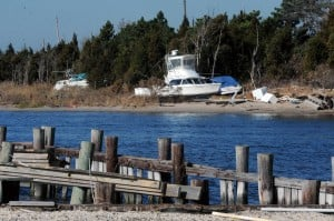 Missing Boats: Just off theRoute 72 causeway into LBI, several boats still in the marshes after being blown from their docks nearby by Hurricane Sandy. Wednesday, November,21, 2012( Press of Atlantic City/ Danny Drake)  - Photo by Danny Drake