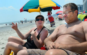 Airshow Practice: Laurie and Bill McHutchinson of Magnolia NJ watch from Florida Avenue. Tuesday June 25 2013 Atlantic City AirShow practice. (The Press of Atlantic City / Ben Fogletto) - Ben Fogletto