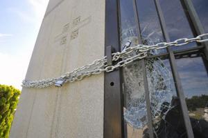 vandalized crypt
