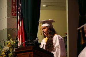 OLMA Graduation: Dana Ann Fatcher , Salutony speaks during graduation at Our Lady of Mercy Academy Tuesday May 27, 2014. - Edward Lea