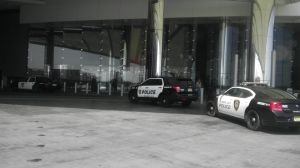 Revel: Several police cars sit outside the main entrance to Revel Sunday afternoon.  - Donna Weaver