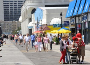 MEMORIAL Day: Tourists stroll on the Atlantic City Boardwalk, Monday May 27, 2013. (The Press of Atlantic City/Staff Photo by Michael Ein)  - Michael Ein