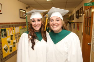 OLMA Graduation: Sara Gullo, 18 of Newfield , left Niki LaBelle, 18 of Blackwood, right pose together before their Graduation at Our Lady of Mercy Academy Tuesday May 27, 2014. - Edward Lea