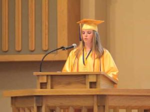 Valedictorian Logan Kesel of Brigantine giving her speech