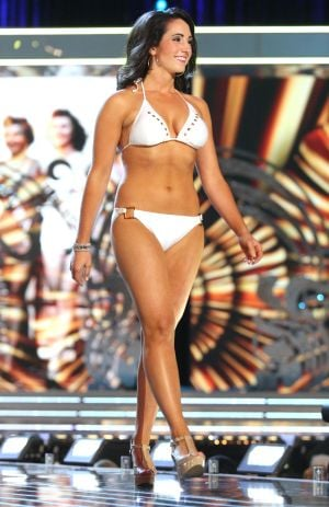 Miss America 2 PRELIMS: Miss Idaho Sarah Downs contestant walks the runway during swimsuit portion of the preliminary second round of the Miss America pageant at Boardwalk Hall in Atlantic City, New Jersey, September 11 2013 - Photo by Edward Lea