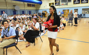 Miss A Visit: Tuesday October 1 2013 Miss America Nina Davuluri visits St. Joseph's Regional Catholic School in Somers Point. (The Press of Atlantic City / Ben Fogletto) - Ben Fogletto