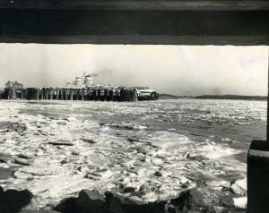 Cape May-Lewes Ferry 14.jpg: February 3, 1971. The Cape May-Lewes Ferry at the Cape terminal stands hemmed in by ice in the Delaware Bay. Press photo by Tom Kinnemand Jr. Historical photo archives