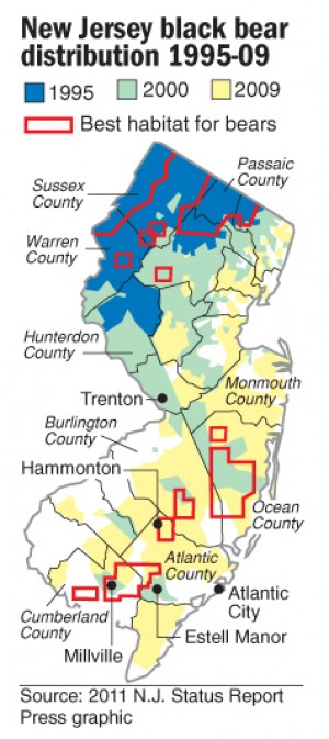NJ black bear map