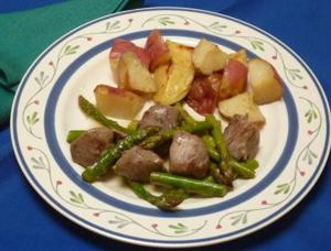 Mint lamb with roasted reds and veggies make excellent springtime fare