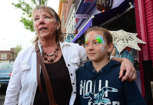 Main Street Millville2: Shirley Baitinger and her granddaughter Becca Cox, 11, both of Shiloh, talk agout the activities on High Street in Millville.  - Ben Fogletto