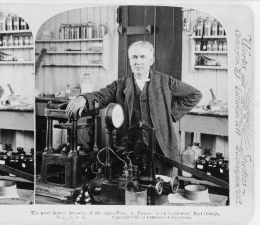 Thomas Edison in his laboratory in East Orange, N.J. in 1901