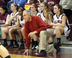: Wildwood High School girls basketball coach Dave Troiano won his 600th career coaching victory in a win against Cape May County Technical High School. Troiano watches the action from the sideline. Tuesday Jan. 29, 2013. (Dale Gerhard/Press of Atlantic City)  - Dale Gerhard