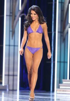 Miss America 2 PRELIMS: Miss Florida Myrrhanda Jones contestant walks the runway during swimsuit portion of the preliminary second round of the Miss America pageant at Boardwalk Hall in Atlantic City, New Jersey, September 11 2013 - Photo by Edward Lea