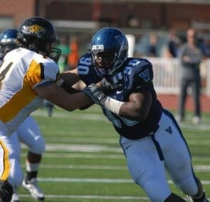 Mainland Regional Graduate Antoine Lewis Already A Key Player For Villanova Football As A Freshman: Villanova's Antoine Lewis rushes the passer during a game earlier this season against Towson.