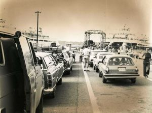 Cape May-Lewes Ferry 16.jpg: August 16, 1977.  Vehicles and their passengers line up and wait for the signal to drive up the ramp on to the Cape May-Lewes Ferry for transport to Delaware. Photo by Frank Ross. Historical photo archives