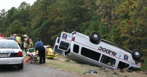 Department Of Corrections Van Overturns In Cumberland
