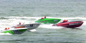 AC Power Boats: Boats 639,611,601 and 623 start the first race. Sunday June 23 2013 Atlantic City Offshore Grand Prix powerboat race off the beach in Atlantic City. (The Press of Atlantic City / Ben Fogletto)  - Photo by Ben Fogletto