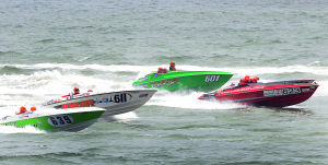 AC Power Boats: Boats 639,611,601 and 623 start the first race. Sunday June 23 2013 Atlantic City Offshore Grand Prix powerboat race off the beach in Atlantic City. (The Press of Atlantic City / Ben Fogletto)  - Ben Fogletto