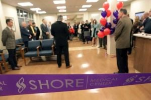 Shore Urgent Care Celebrates Opening Of Northfield Facility: A crowd gathered at open house and ribbon-cutting ceremony Jan. 31 for Shore Medical Center's new Shore Urgent Care in Northfield.  - Photo by Sean M. Fitzgerald