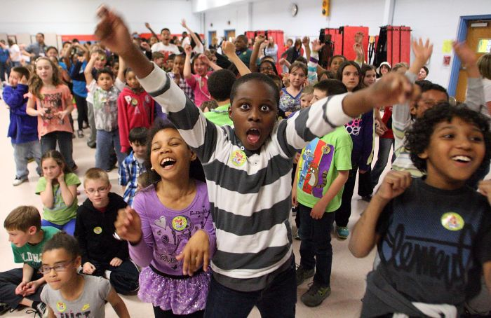 Pep rally at Roland Rogers School