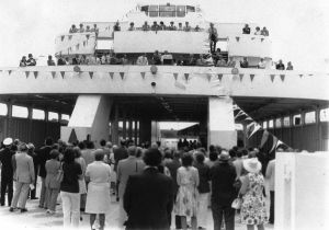 Cape May-Lewes Ferry 17.jpg: June 2, 1974. DEDICATION. New Jersey residents listen to speakers during the christening ceremony for the M.V. Delaware, the flagship and newest vessel of the Cape May-Lewes, Del., Ferry Service. Press photo by Tom Kinnemand Jr. Historical photo archives