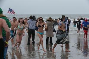 SEA ISLE POLAR PLUNGE: People take part in Sea Isle City's huge Polar Plunge Saturday,Feb 15, 2014. - Edward Lea