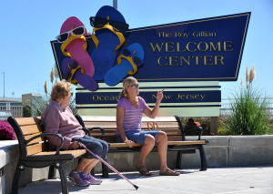 OC WELCOME CENTER: Margaret Markkanen, of Ocean City, left, and daughter Clara Yori, of Drums, PA, visit the Ocean City Welcome Center on Route 52. - Michael Ein