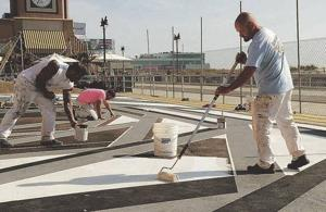 Union workers pitch in to help create art parks