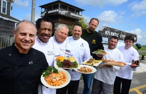 ATS Chefs At The Shore: (l-r) Antonino Cannuscio - JoJo's, Willie Lewis - Kelsey's, Wolfgang Geckeler - Chef Wolf's Consultants, Steven Klawitter - Resorts, Robert Hettmannsperger - Golden Nugget, James Scarpato - Showboat, and David Goldstein - President of the Chef's Association at the Atlantic City Aquarium. Tuesday June 11 2013(The Press of Atlantic City / Ben Fogletto)  - Ben Fogletto