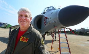 Personal Harrier: Art Nall stands next to the Harrier. Monday June 24 2013 Former Royal Navy SeaHarrier jet privately owned by Art Nalls, Lt. Col. USMC (ret) lands at Atlantic City International Airport in EHT for the upcoming Atlantic City Air Show. (The Press of Atlantic City / Ben Fogletto)  - Ben Fogletto